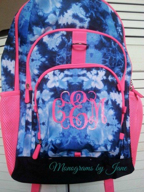 Hot pink vinyl on flower backpack